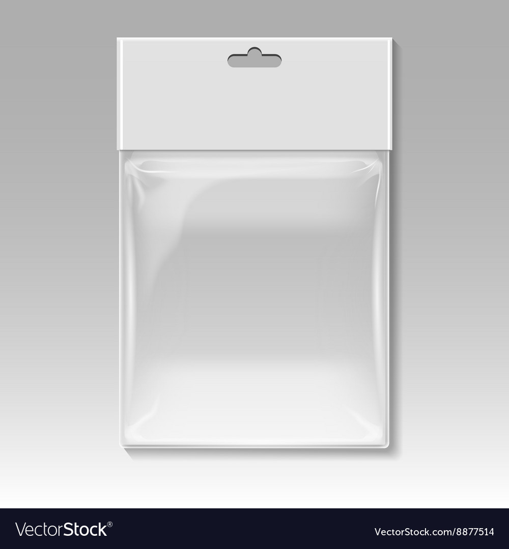 Blank plastic pocket bag template vector