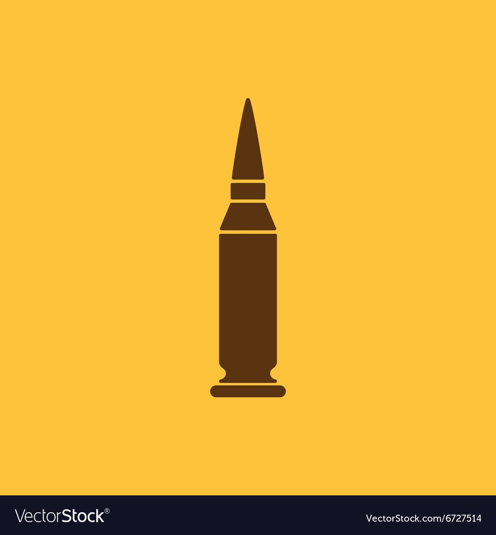 Bullet icon weapon symbol flat vector