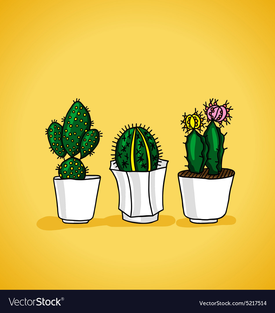Decorative potted cactus vector