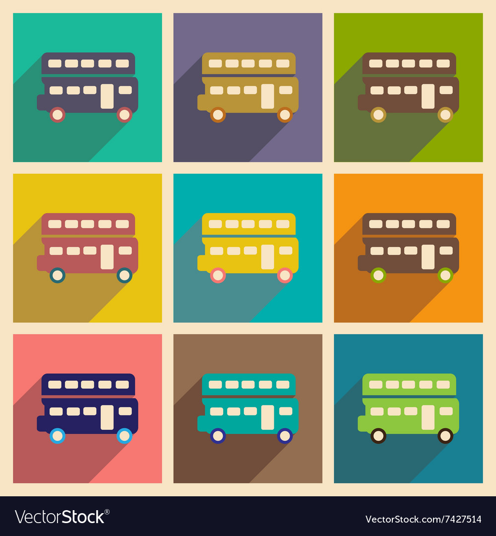 Set of flat icons with long shadow double decker vector