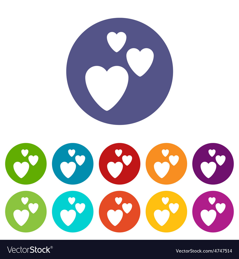 Three hearts icon set vector