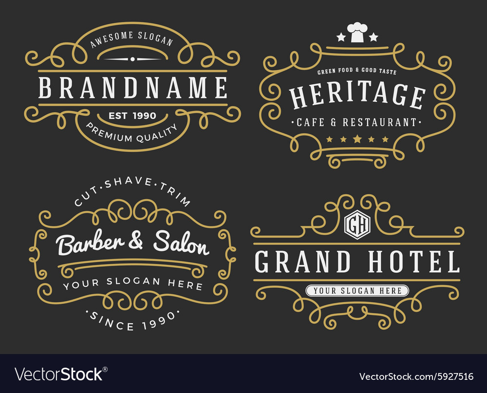 Flourish frame for labels banner logo emblem vector