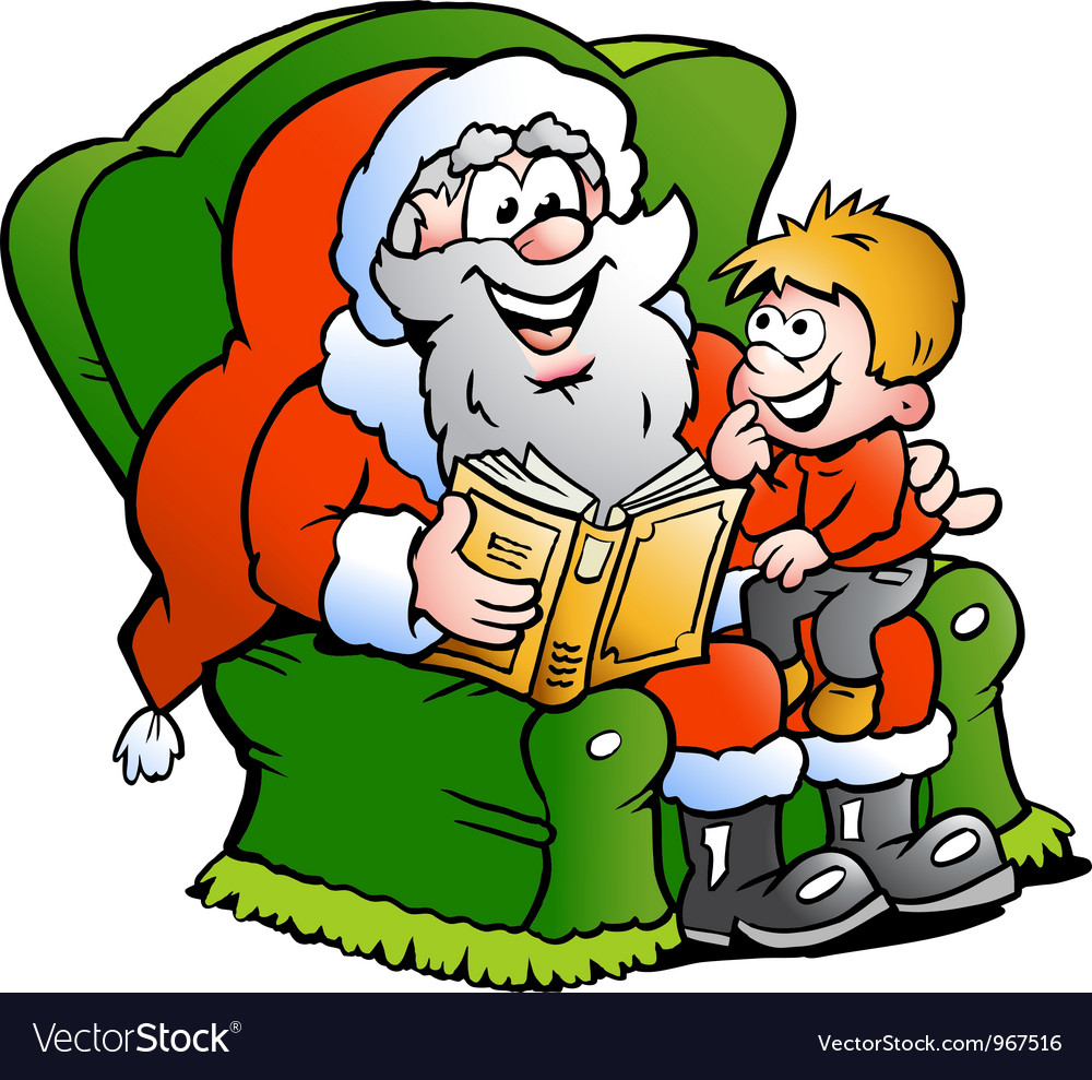 Handdrawn of an santa claus tells a story to an vector