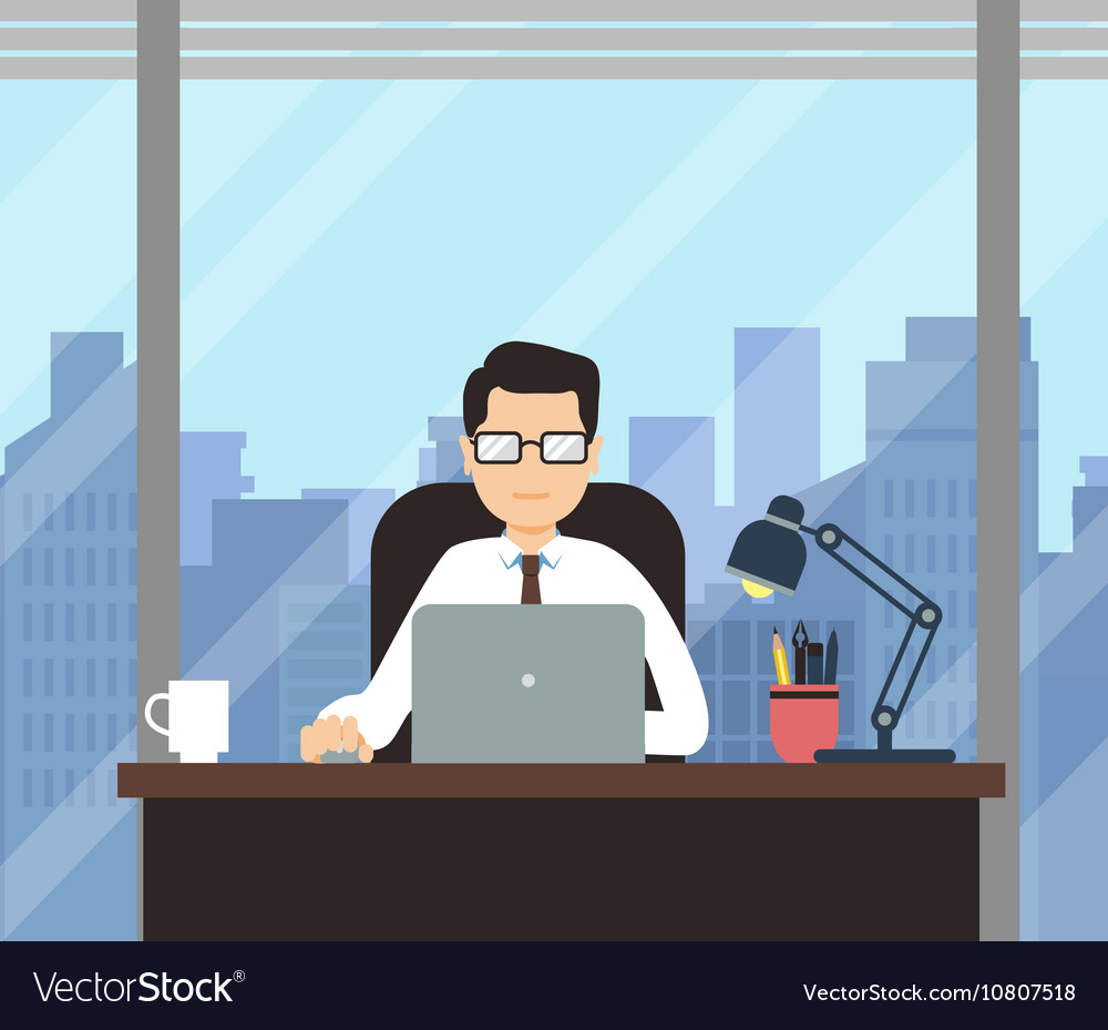 Man with laptop in office room with big window vector