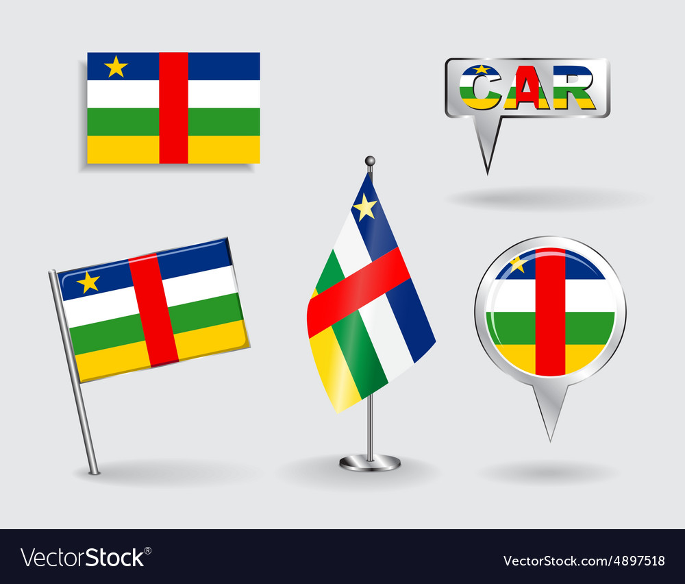 Set of car pin icon and map pointer flags vector