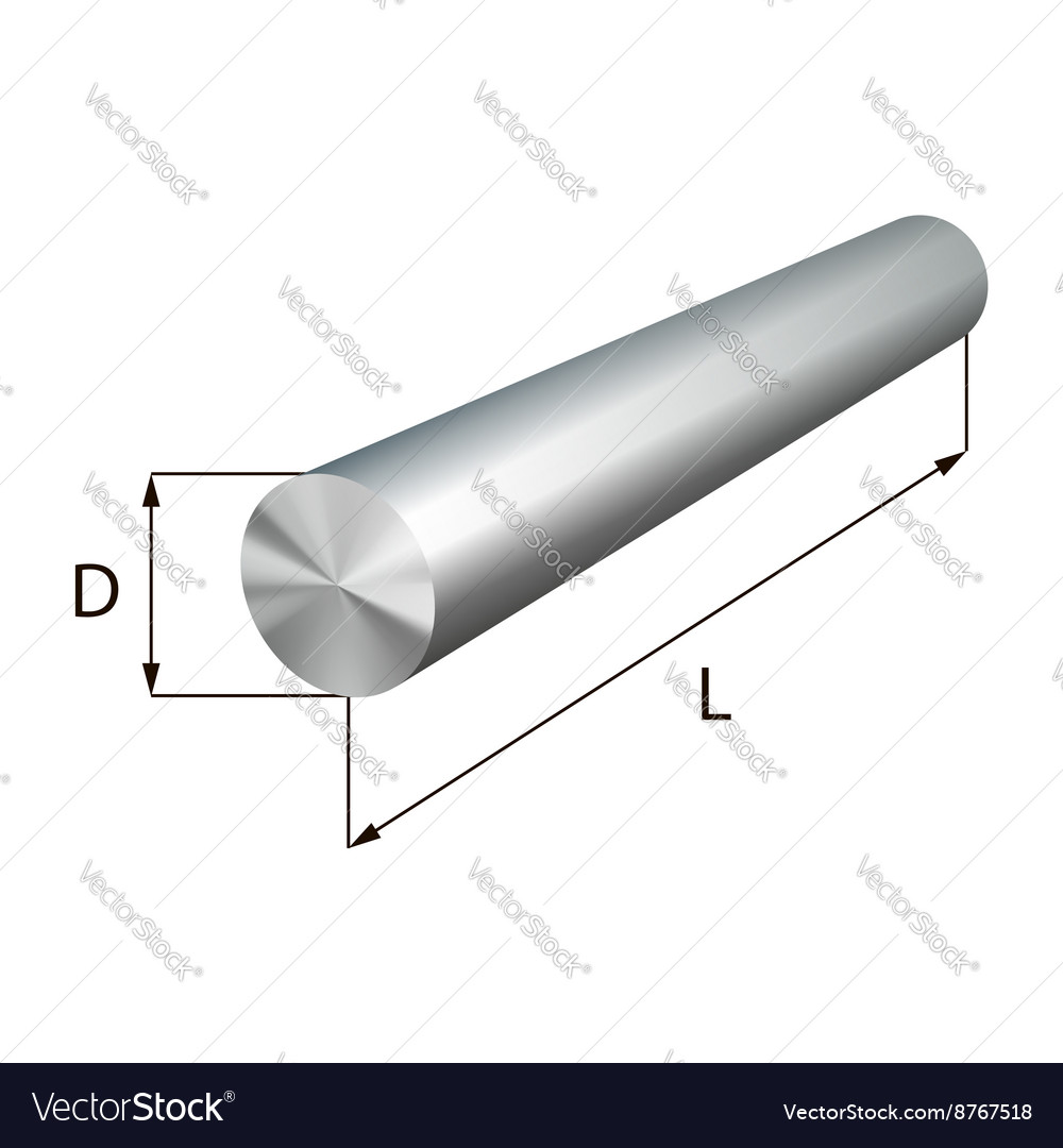 Steel round bars industrial metal object vector