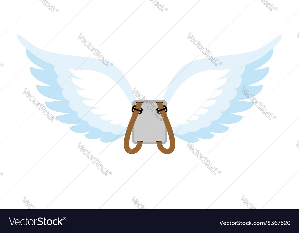 Angel wings backpack with white wings cupids wings vector