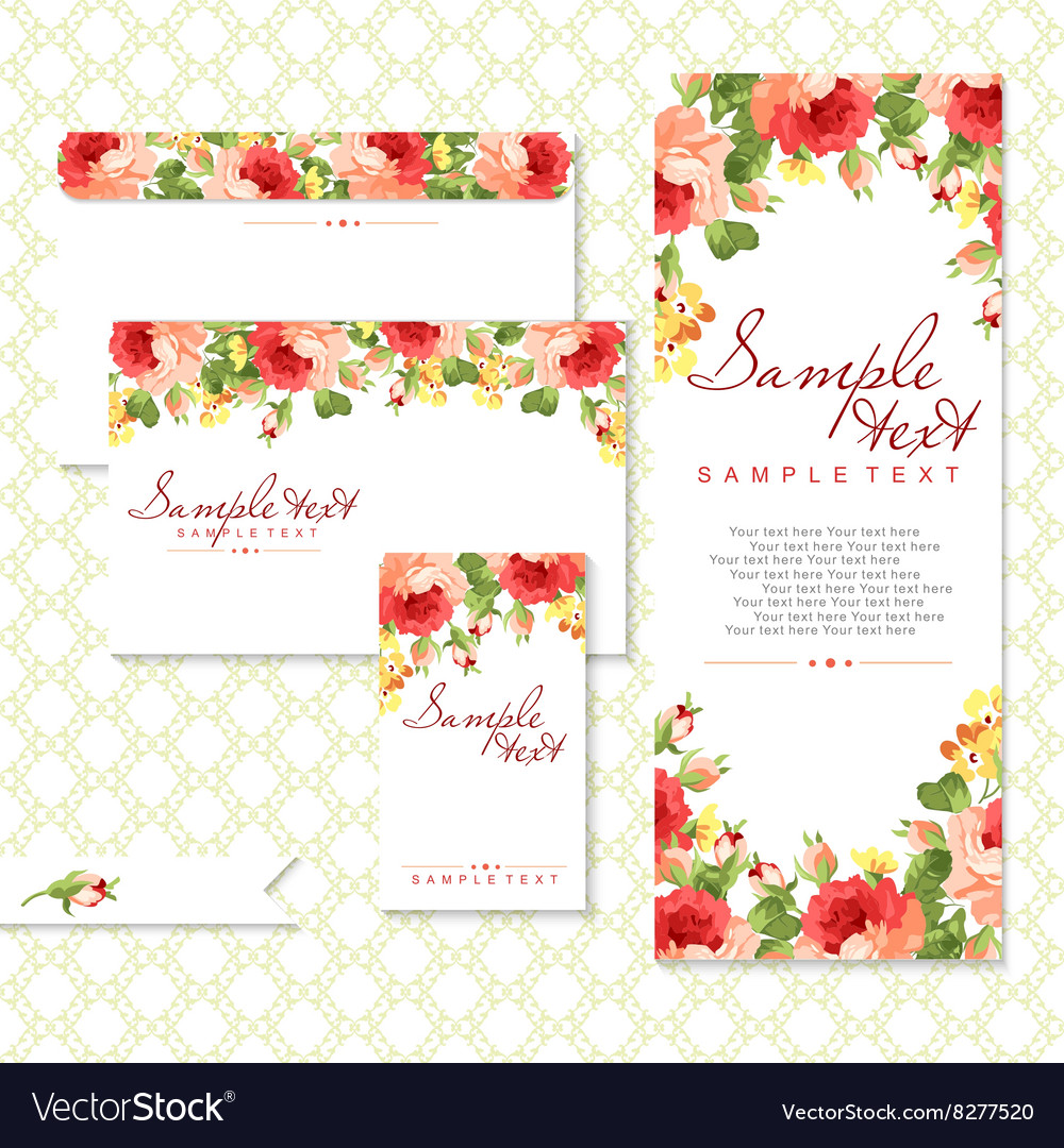 Card with red roses vector