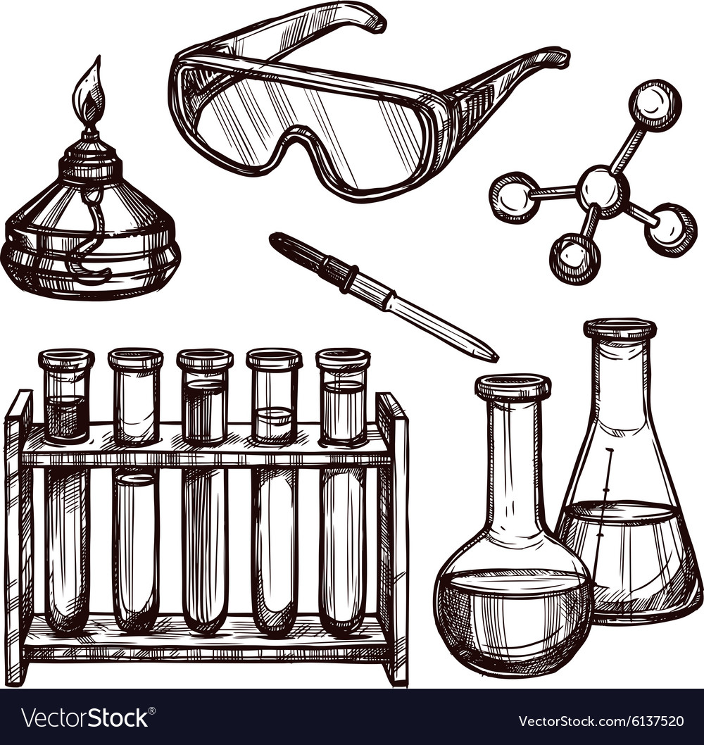 Chemistry tools hand drawn set vector