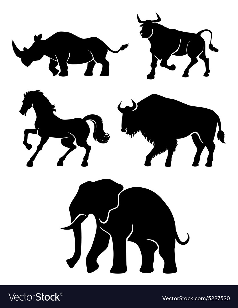 Five power animals vector