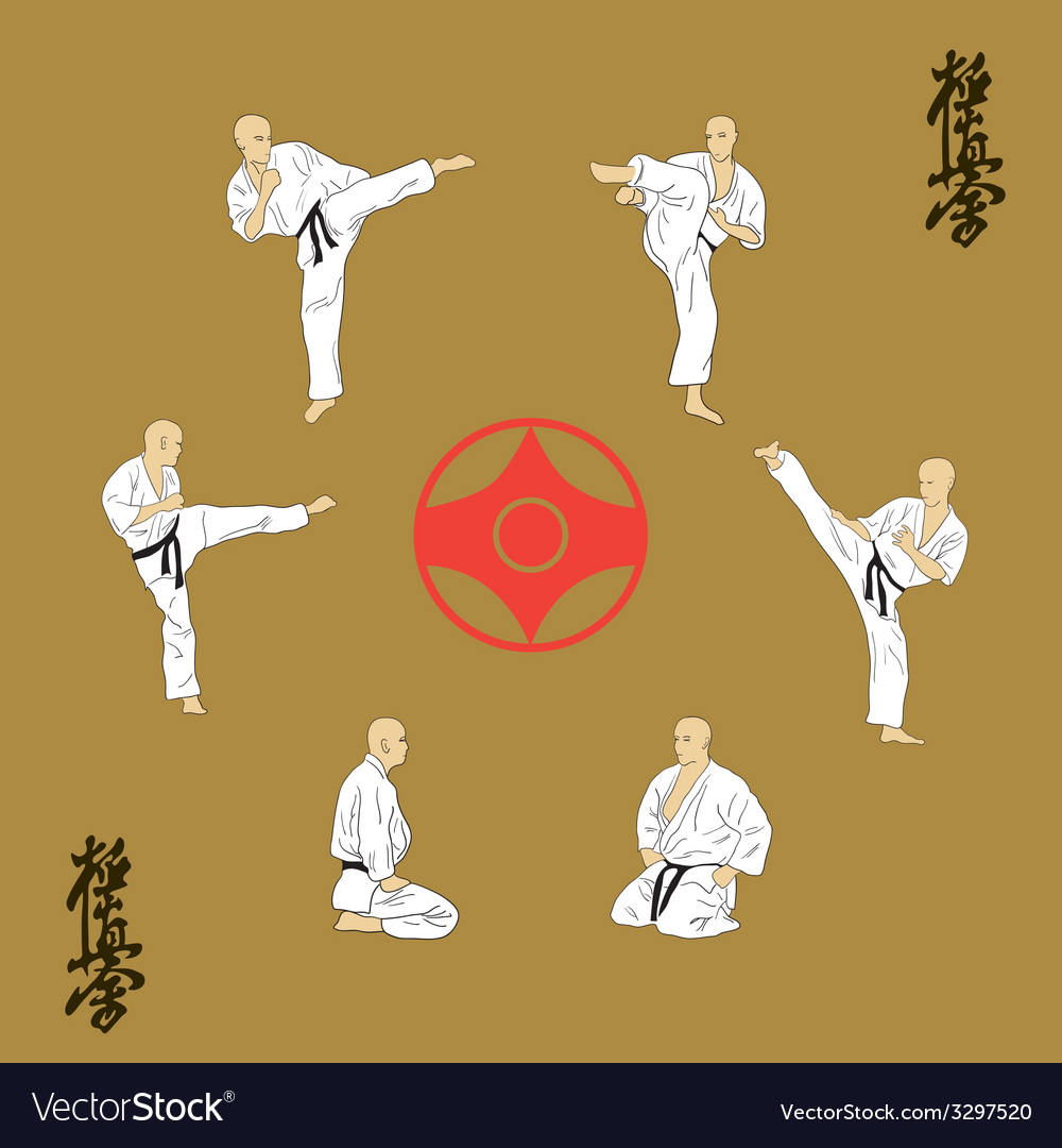 Six men are engaged in karate vector
