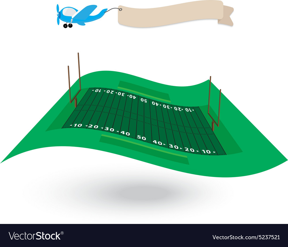Amerian football field flying flag vector
