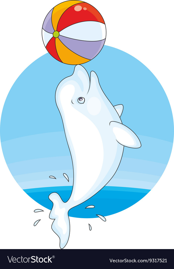 Beluga playing a ball vector