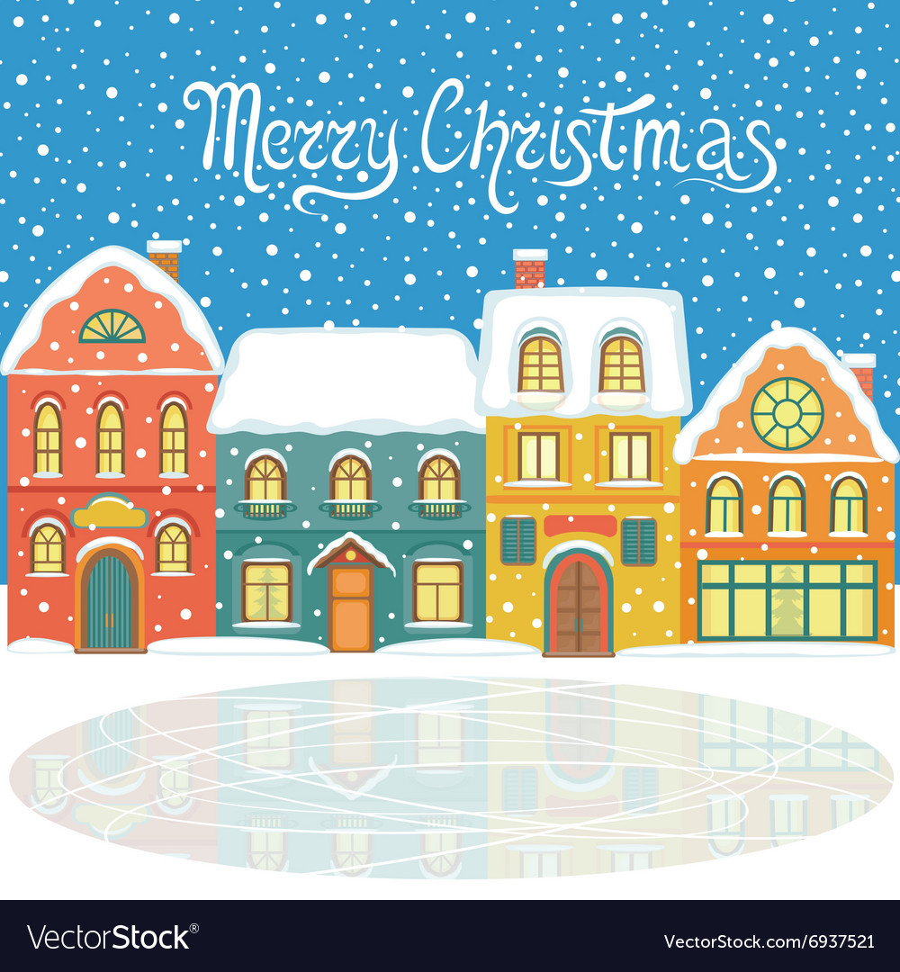 Christmas card with snowy houses vector