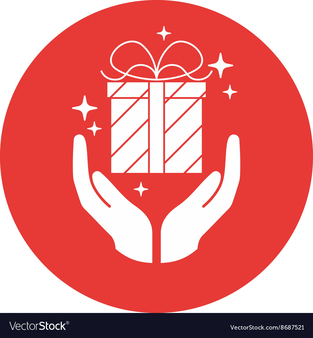 Hands holding a gift vector