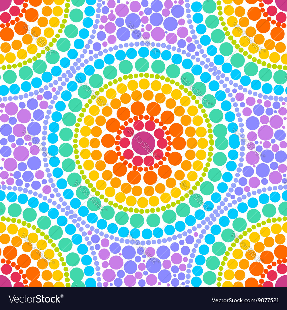 Rainbow colors concentric circles in dot art style vector