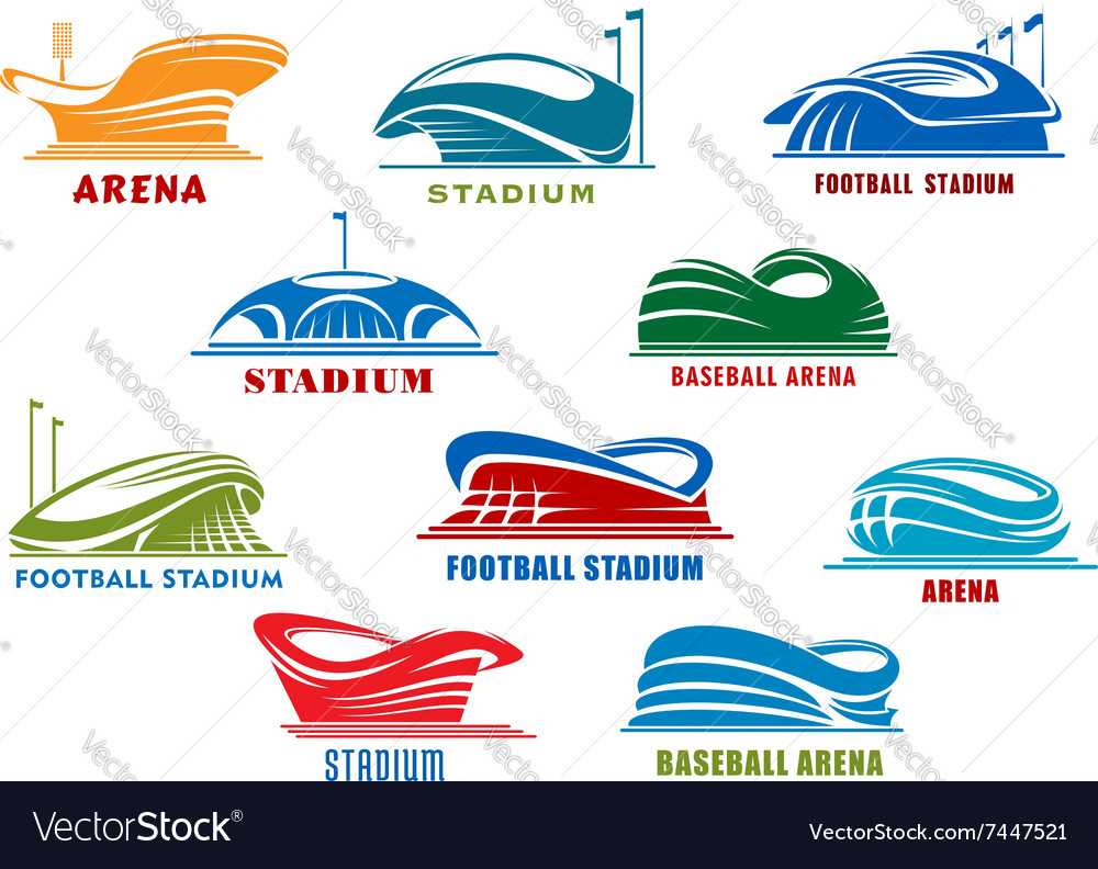 Stadiums and sport arenas abstract icons vector