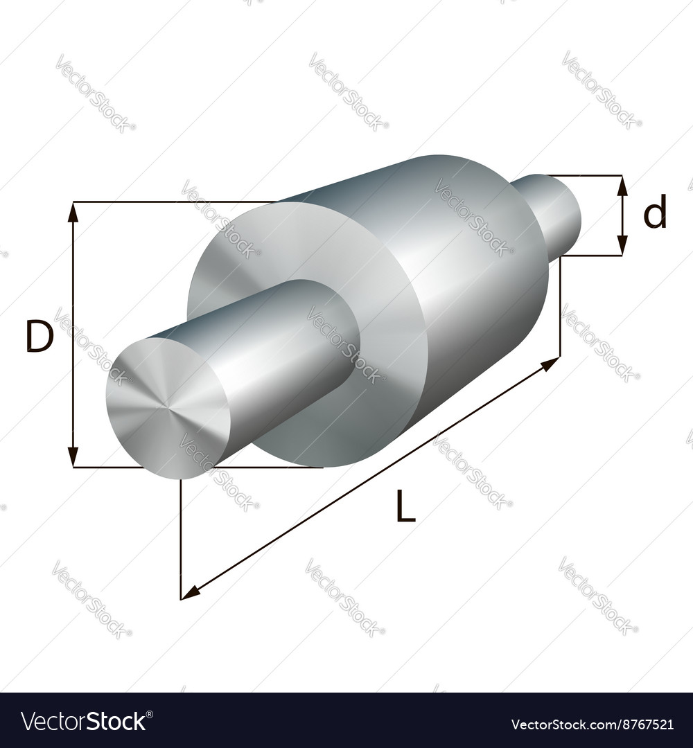Steel shafts with steps industrial metal object vector