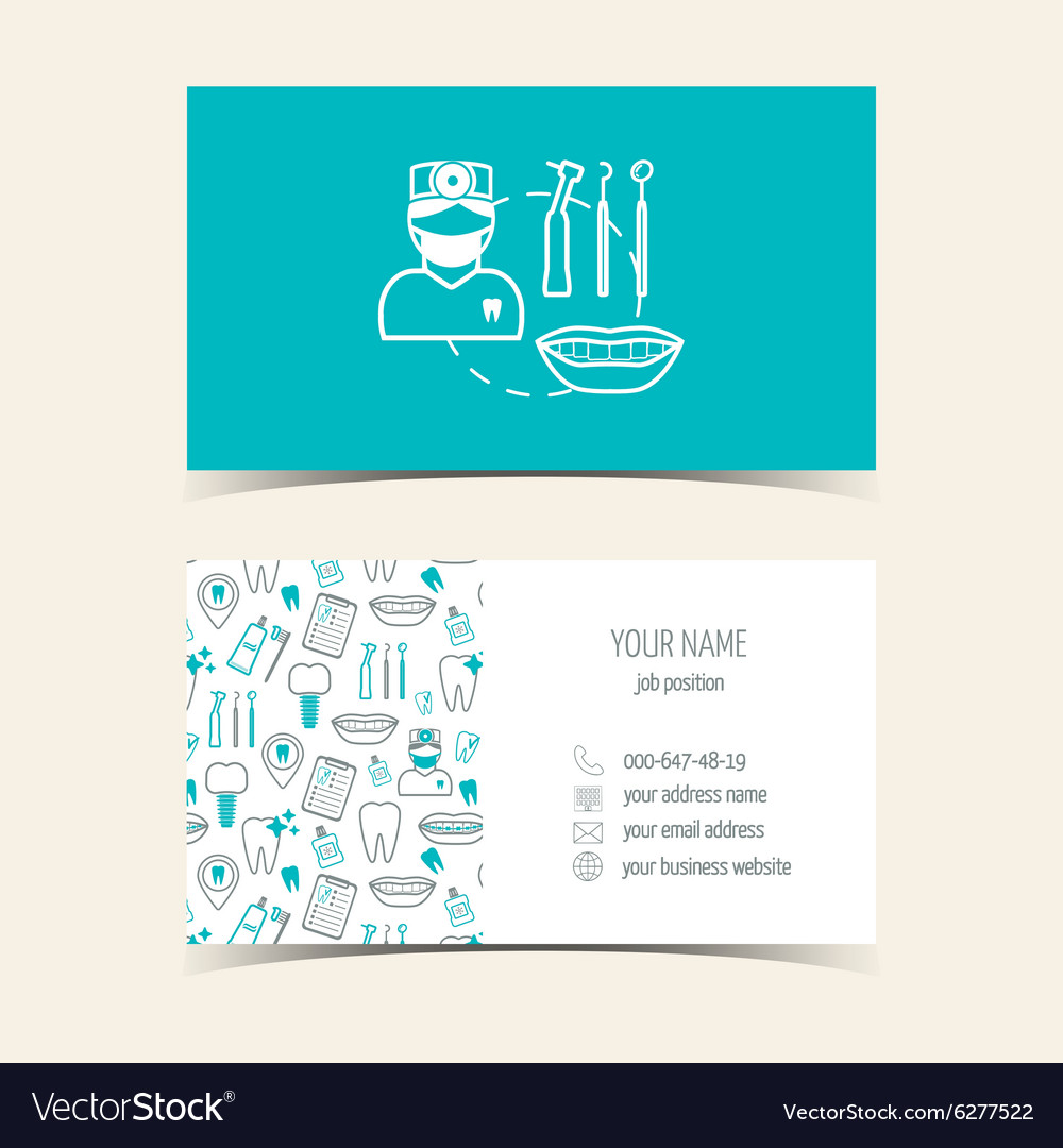 Business cards for dental clinic promotional vector