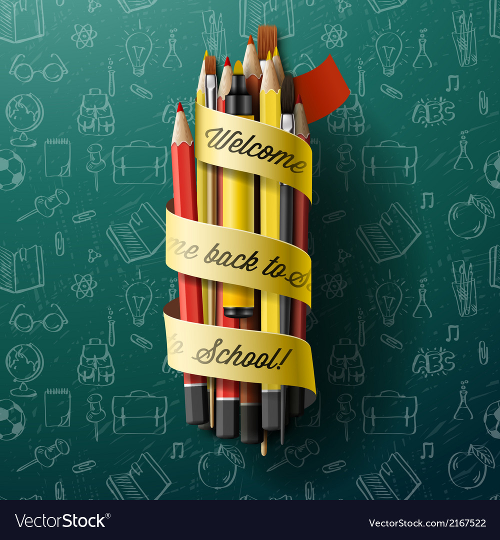 Colorful pencil crayons with text back to school vector