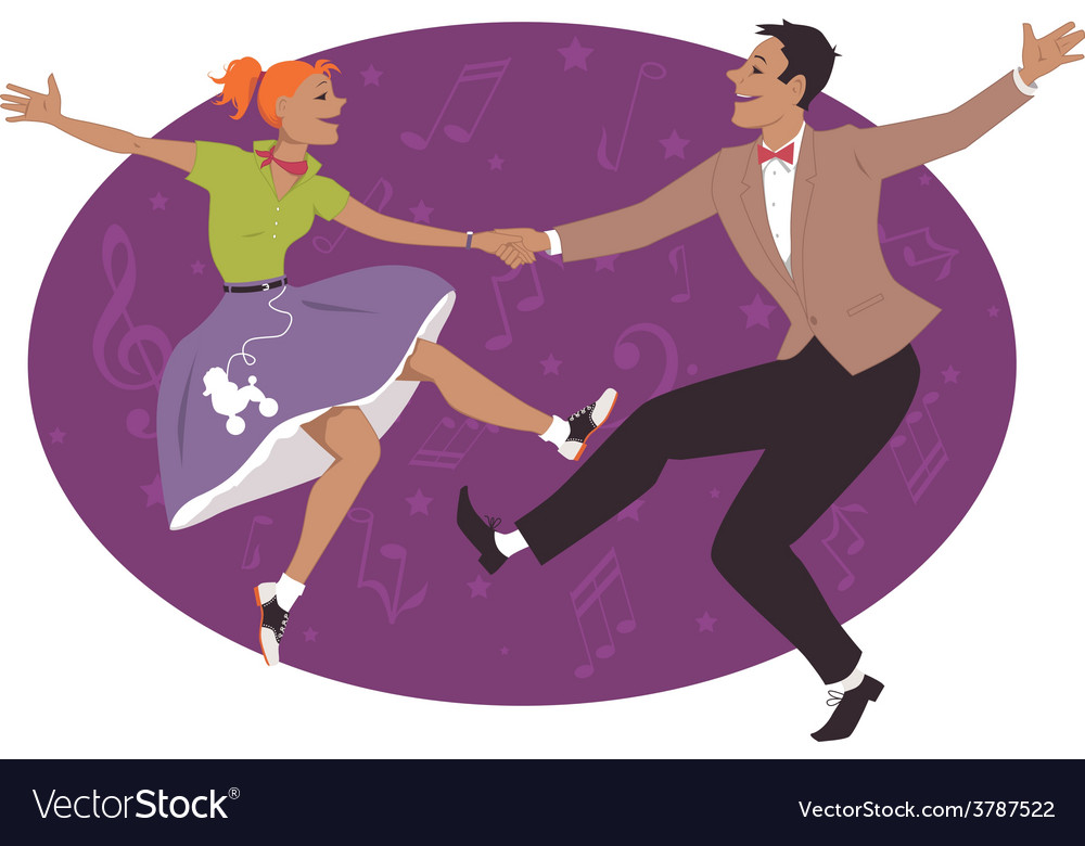 Couple dancing 1950s style rock and roll vector