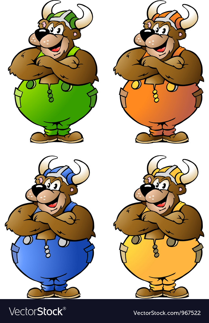 Handdrawn of 4 viking bear in colored overalls vector