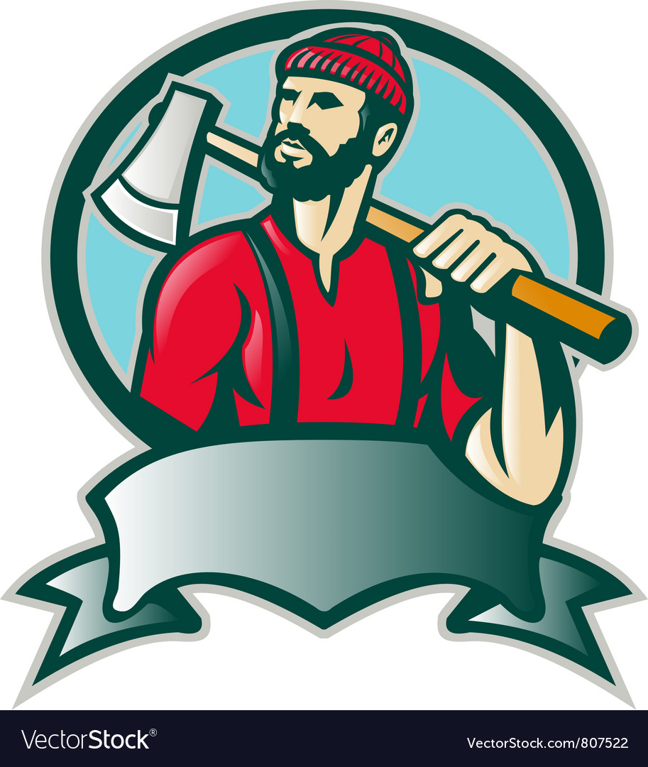 Lumberjack forester with axe vector
