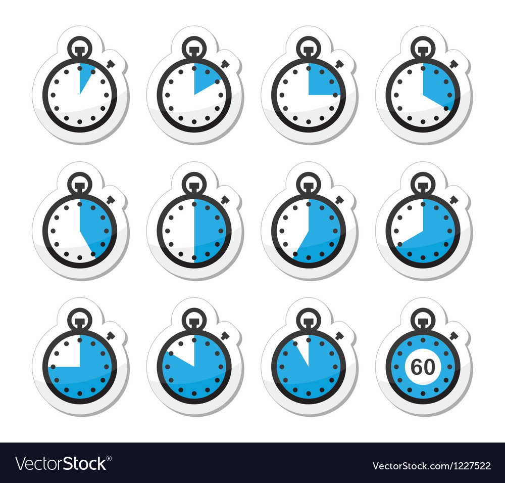 Time clock stopwatch icons set vector