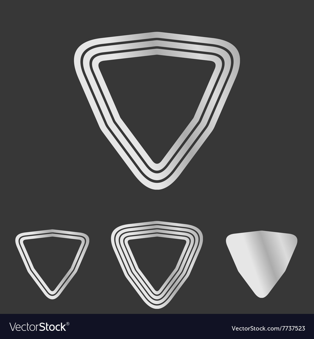 Silver line triangle logo design set vector
