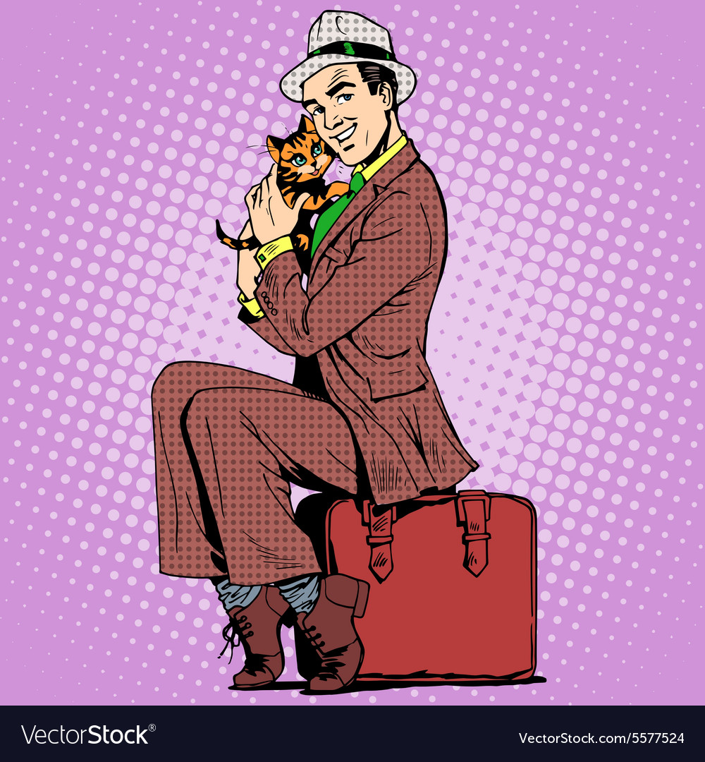 Man kitten and a suitcase vector