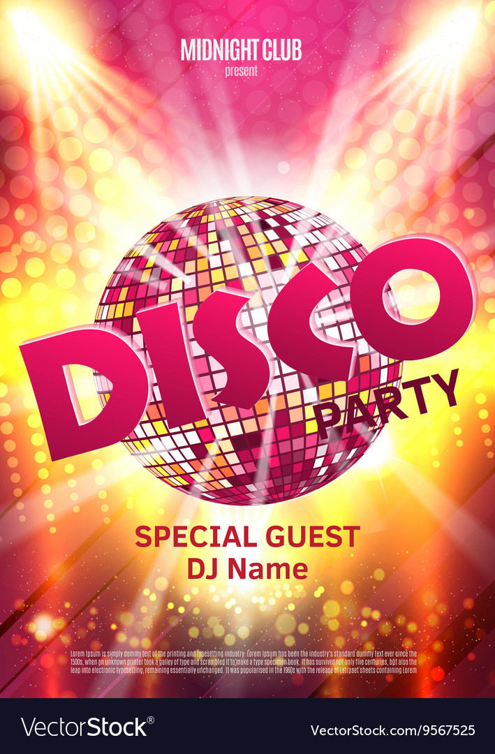 Disco party poster background party with disco vector