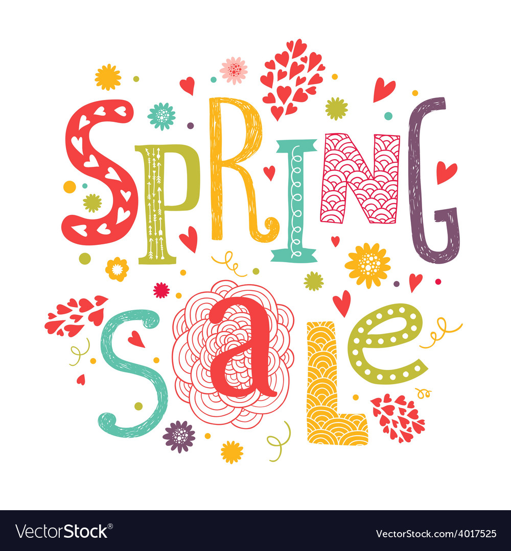Llettering spring sale with decorative floral vector