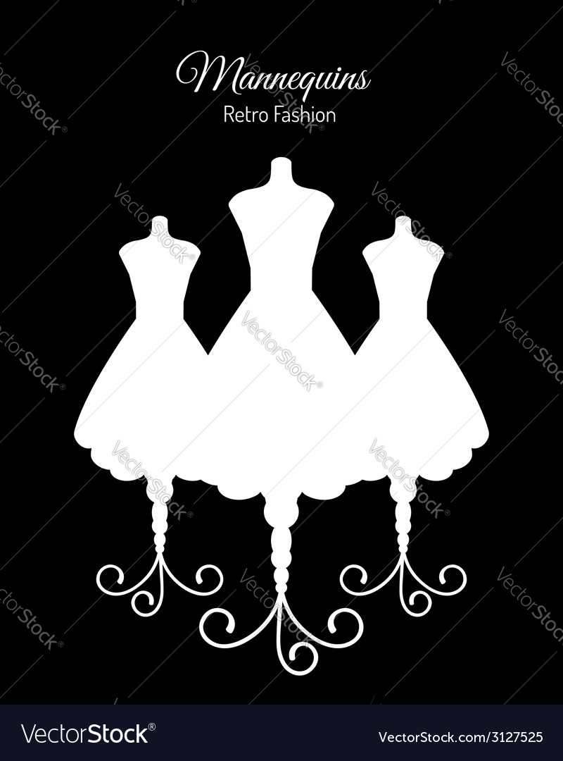 White silhouettes of mannequins vector