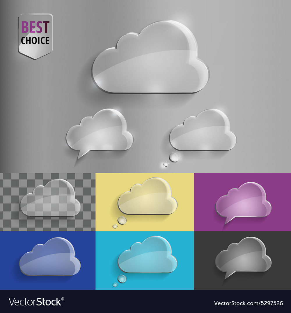 Collection of glass speech bubble cloud icons with vector