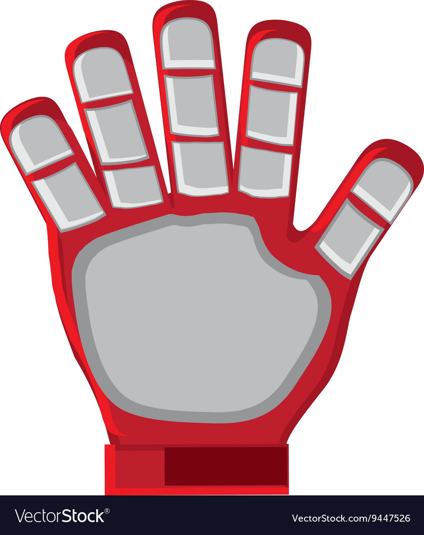 Red goalkeeper glove vector