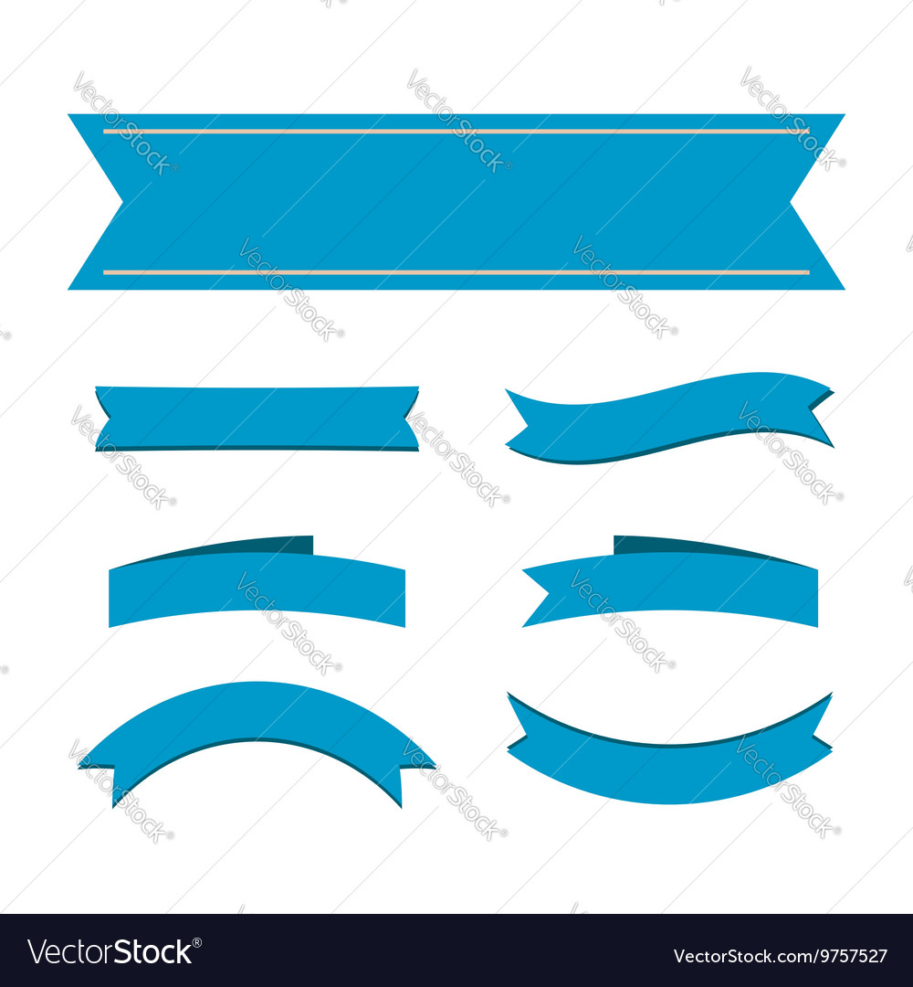 Blue ribbon banners set vector