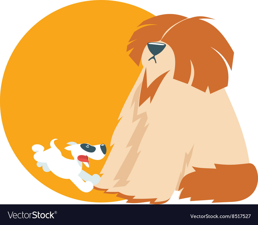 Cute puppy run with shaggy dog vector