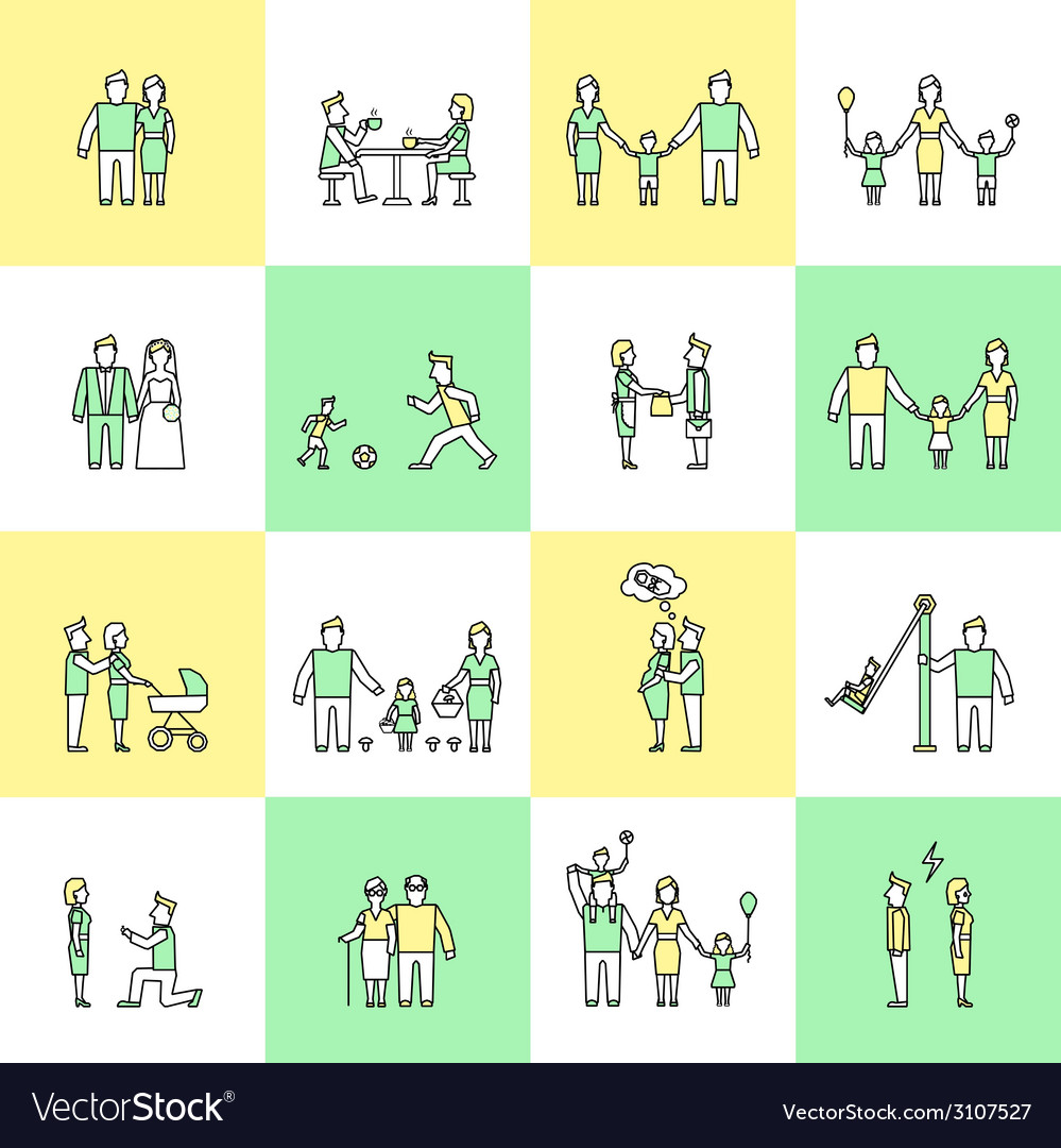 Family icons set flat line vector
