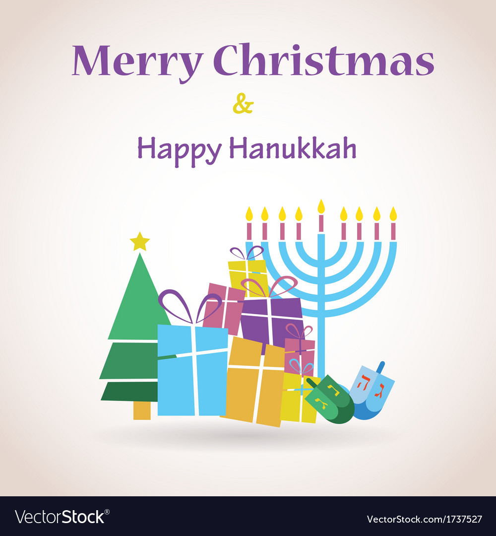 Happy hanukkah and merry christmas vector