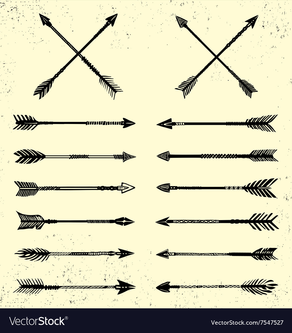 Set of handdrawn arrow vector