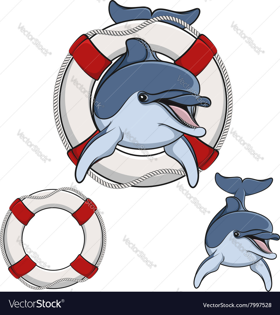 Colored of a dolphin and a life buoy vector