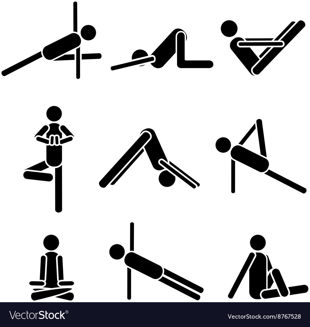Icons yoga asana pose isolated on white background vector