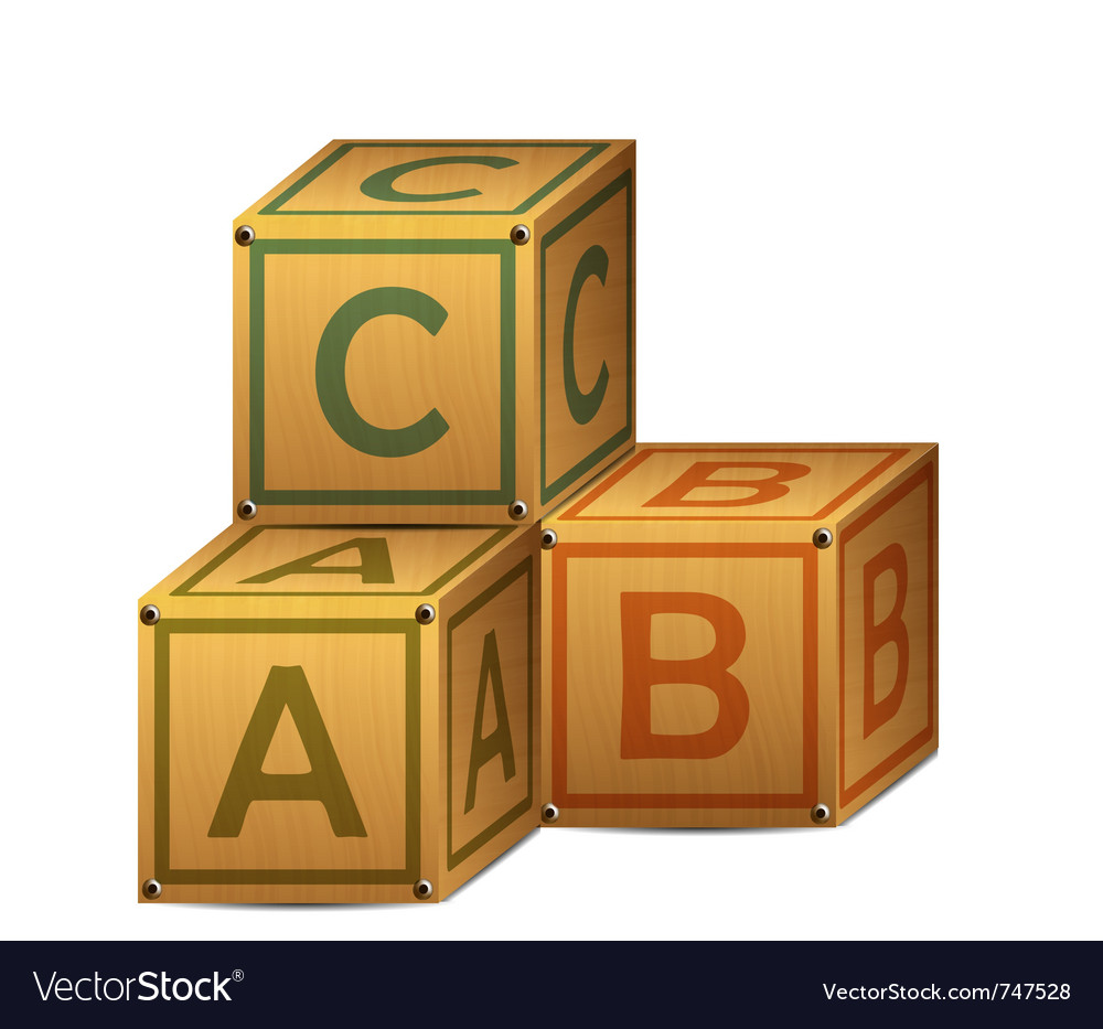 Wooden alphabet letter boxes vector