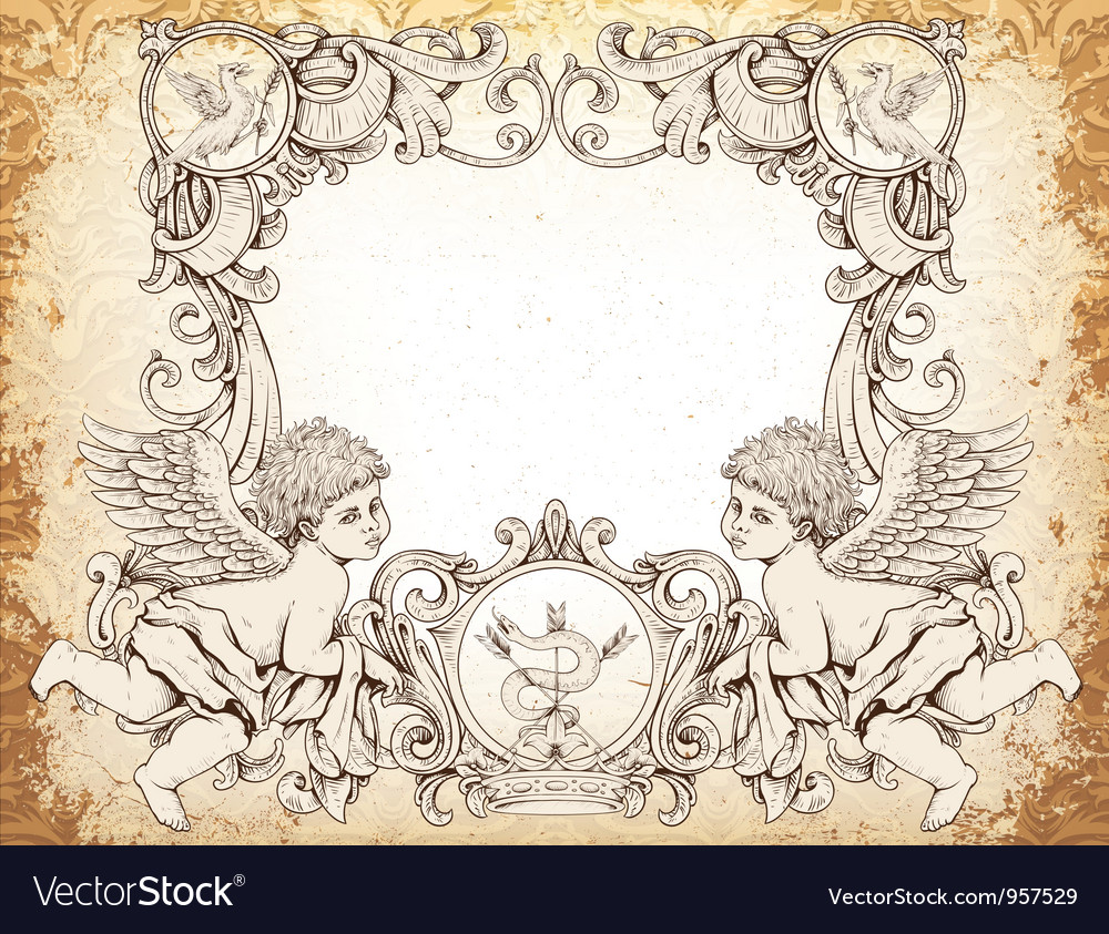 Victorian frame with angels vector