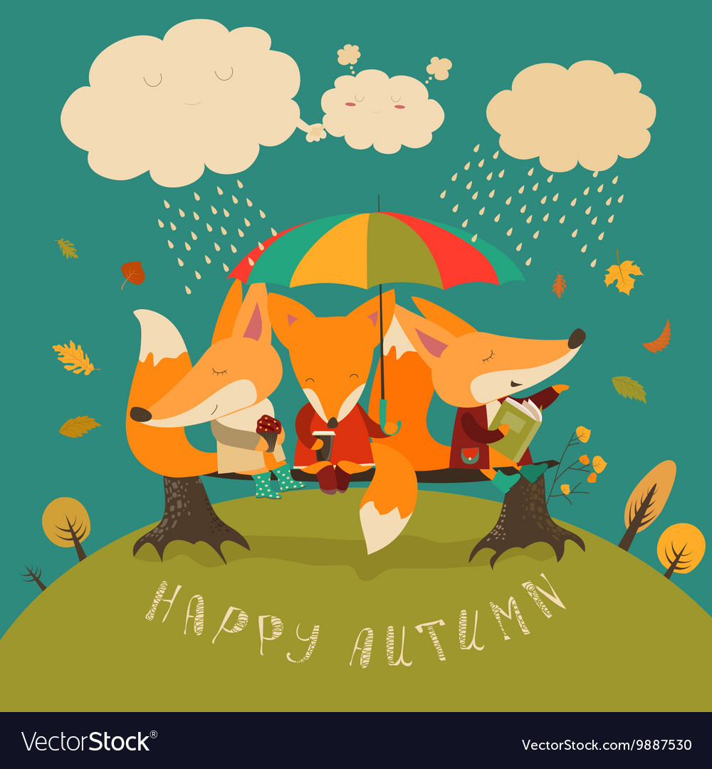Cute foxes sitting under an umbrella on a log vector