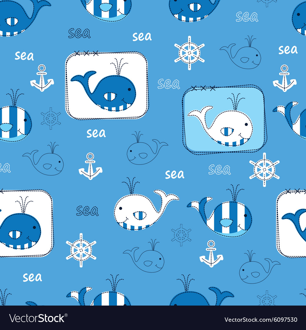 Seamless pattern with whales 3 vector
