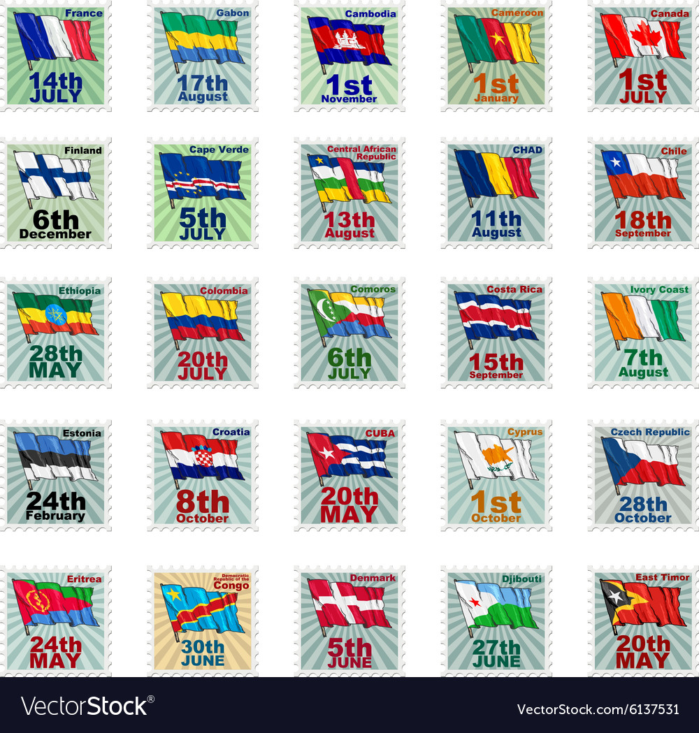 Set of national stamps 02 vector