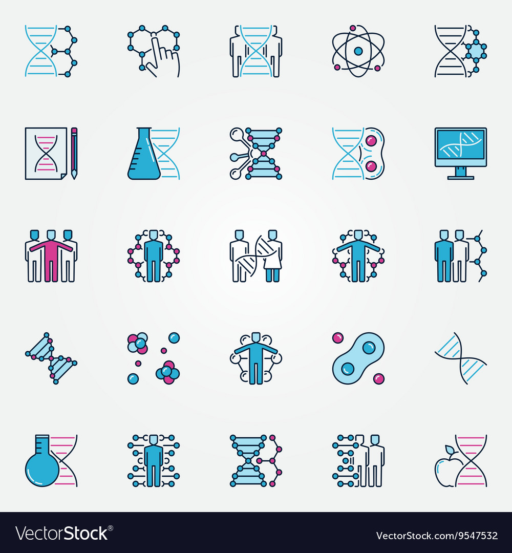 Colorful biotech icons vector