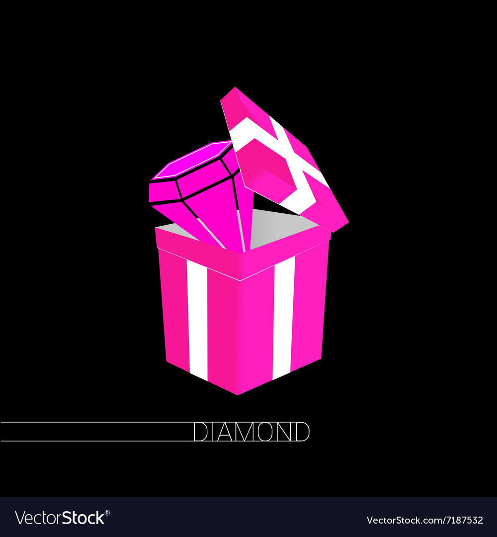 Diamond in gift box pink on black vector