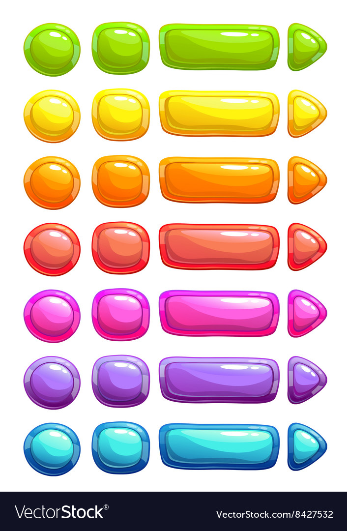 Funny cartoon colorful jelly buttons vector